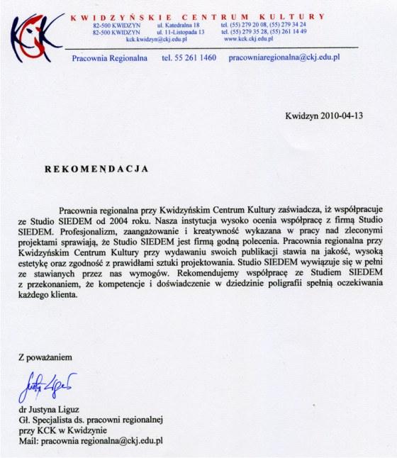 Referencje Kwidzyńskie Centrum Kultury