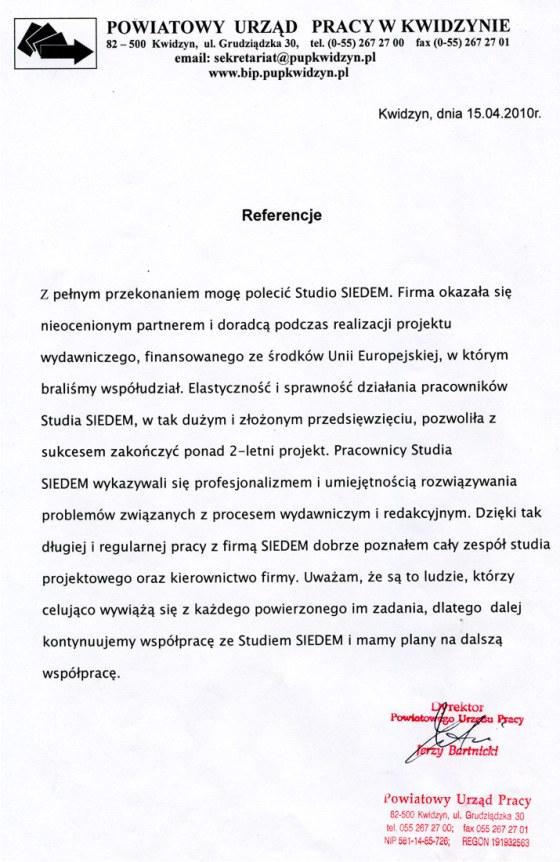 Referencje PUP Kwidzyn